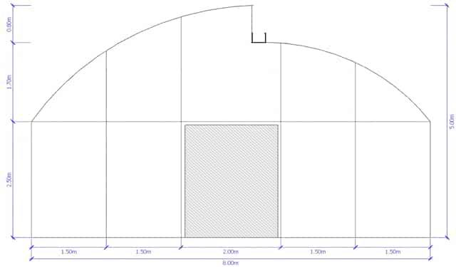 greenlife structures 8 metre sawtooth greenhouse size