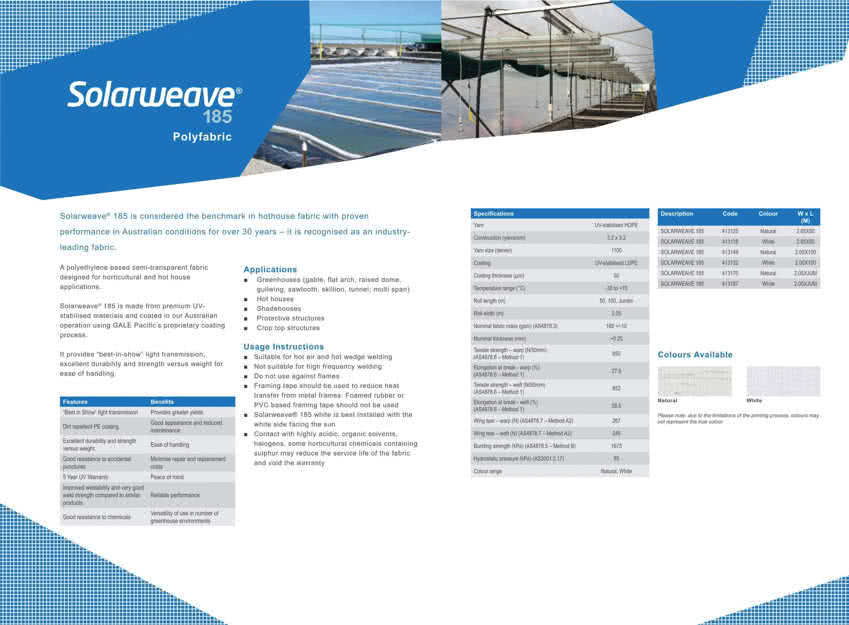 solarweave greenhouse film product brochure